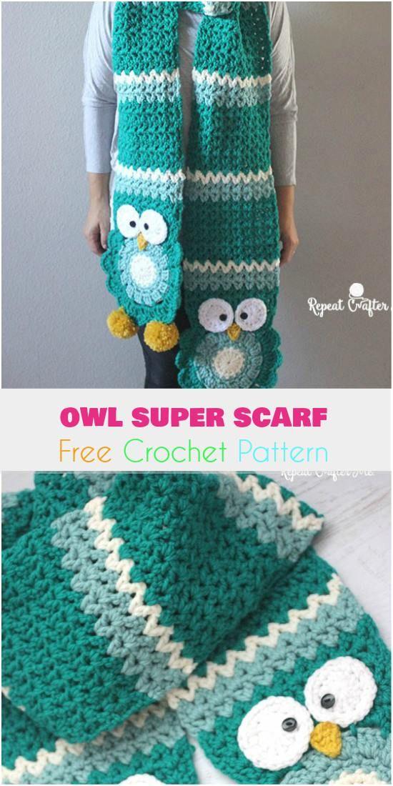 Owl Super Scarf [Free Crochet Pattern]   Tejido, Sweter y Ganchillo