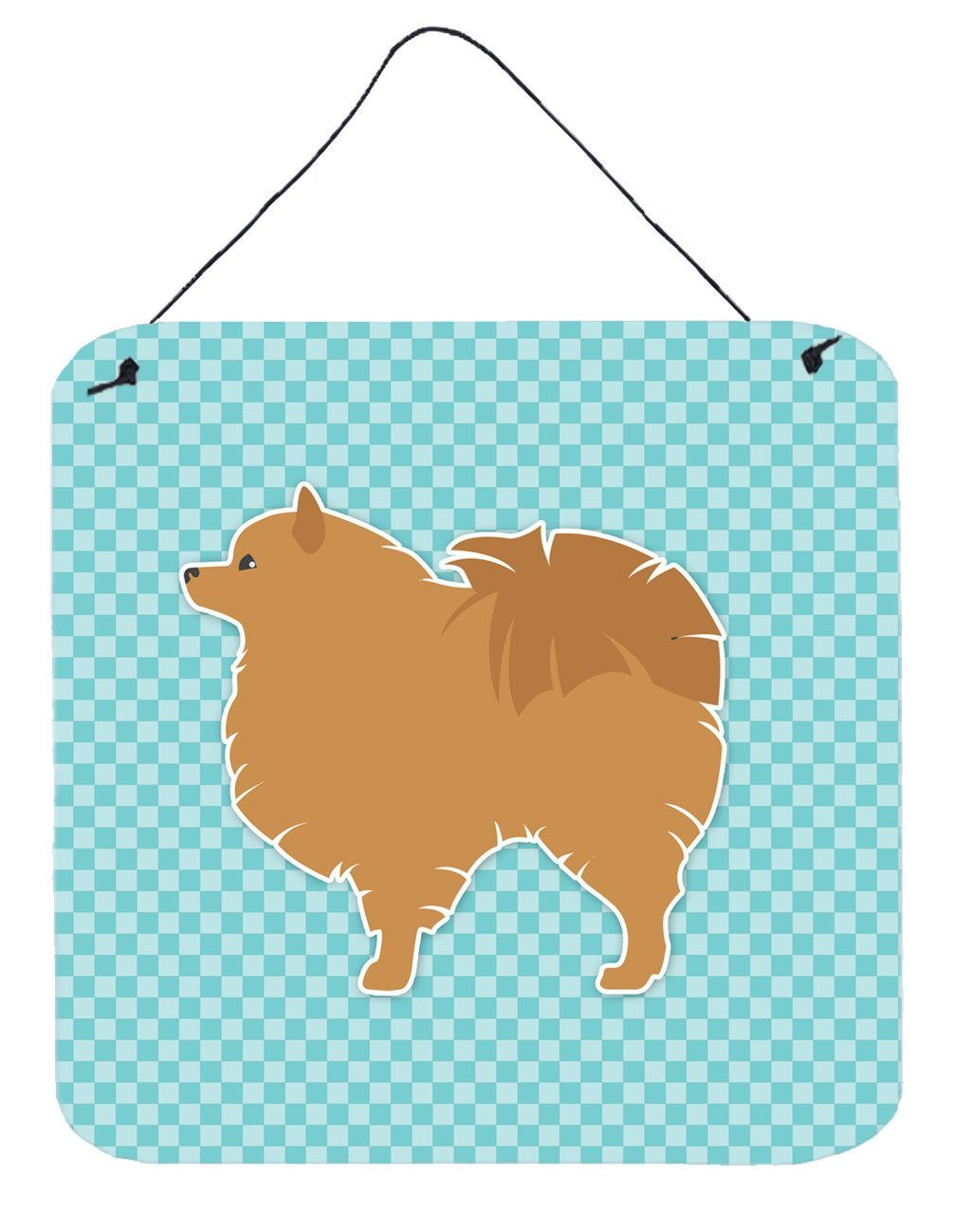Pomeranian Checkerboard Blue Wall or Door Hanging Prints BB3742DS66 ...