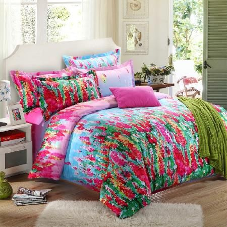 Deep Pink Forest Green and Sky Blue Watercolor Graffiti Print Bright Colorful Fashion Tropical Personalized Full, Queen Size Bedding Sets