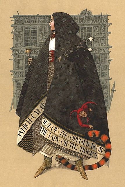 """... """"Illustration for Stockton's tale of The Lady or the Tiger   by A. Mikhnushev an illustrator in Kiev in the Ukrain."""""""
