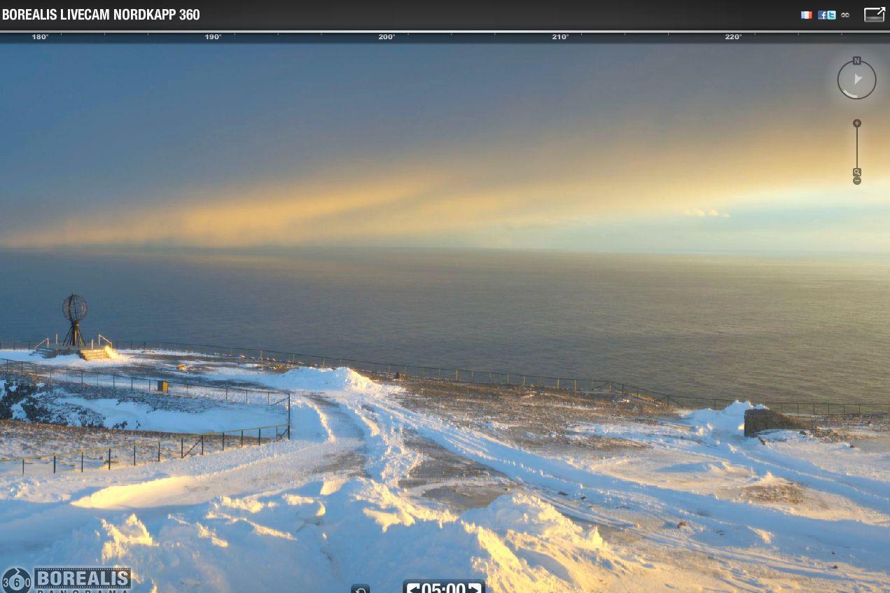 Norvège - Cap Nord - webcam 360° : magnifique lever de soleil à 5H ce 28/03