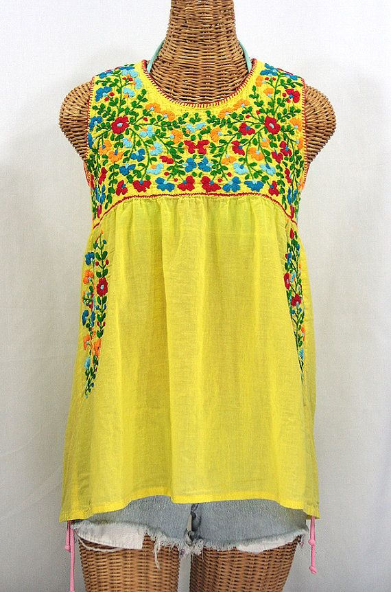 mexican peasant top blouse sleeveless hand embroidered