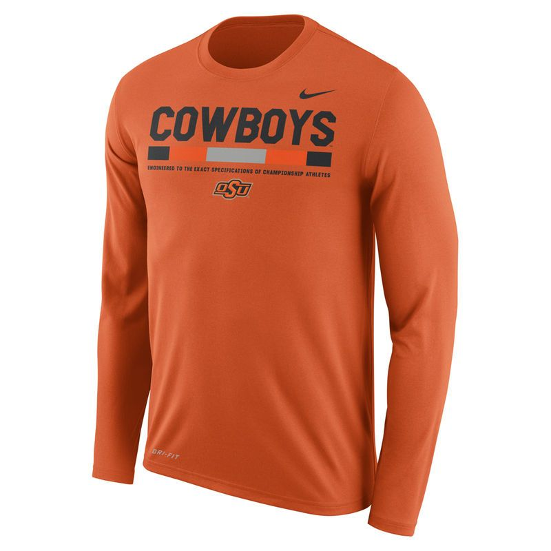 newest e77b8 47fe1 Men s Nike Orange Oklahoma State Cowboys Sideline Staff Long Sleeve Dri-FIT  Legend Long Sleeve T-Shirt