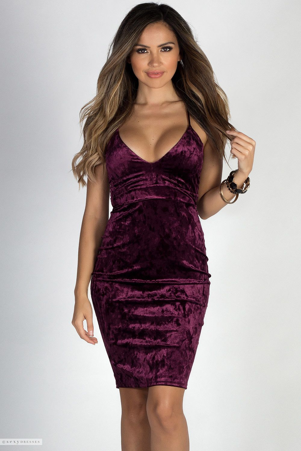 Spaghetti Strap Bodycon Purple Velvet Dress with Cut Out Lace Back ...