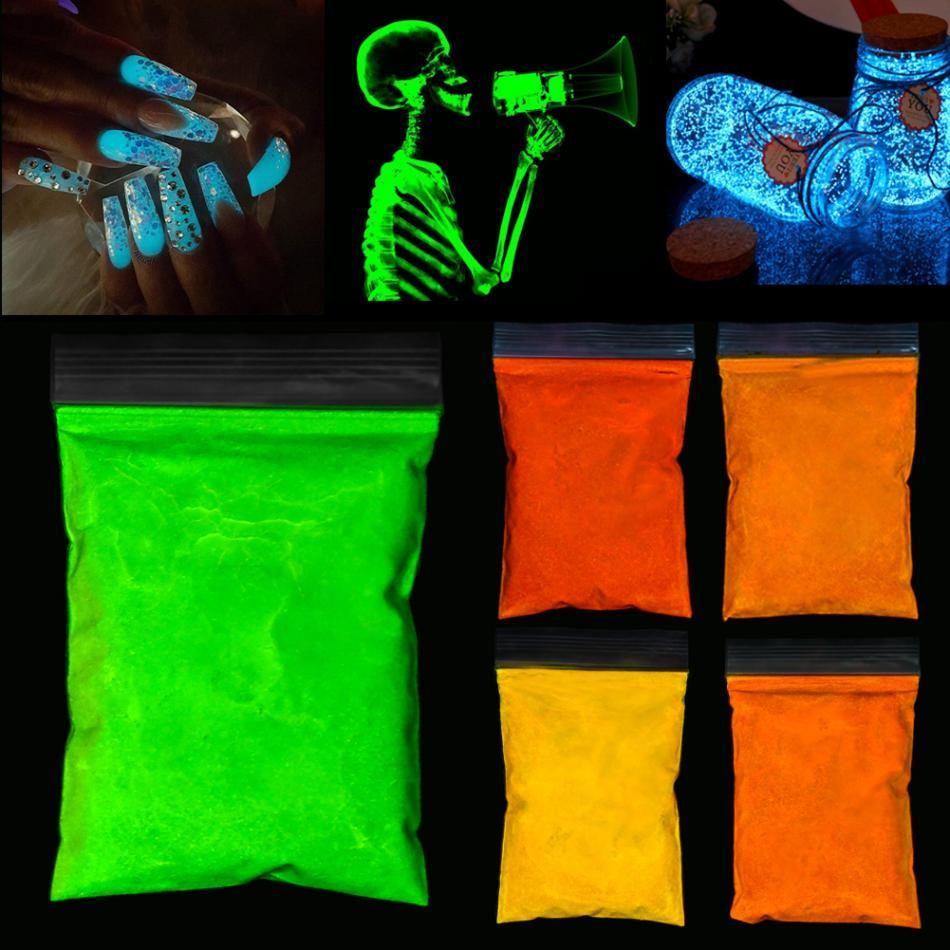 8 Colors Photoluminescent Powder Nail Glitter Bright Fluorescent ...