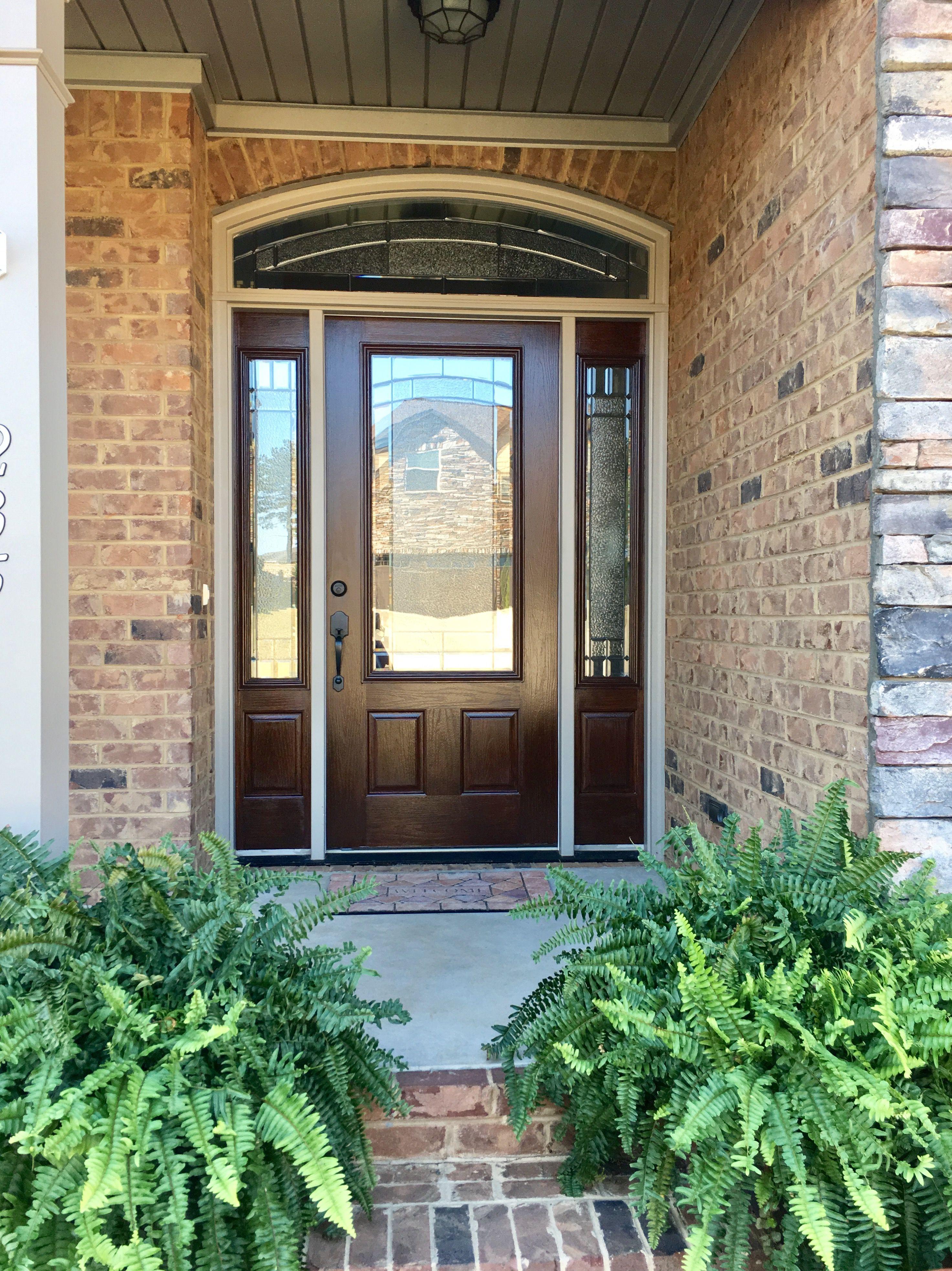Old Masters American Walnut Gel Stain On Fiberglass Door Stained Front Door Fiberglass Exterior Doors Painted Front Doors