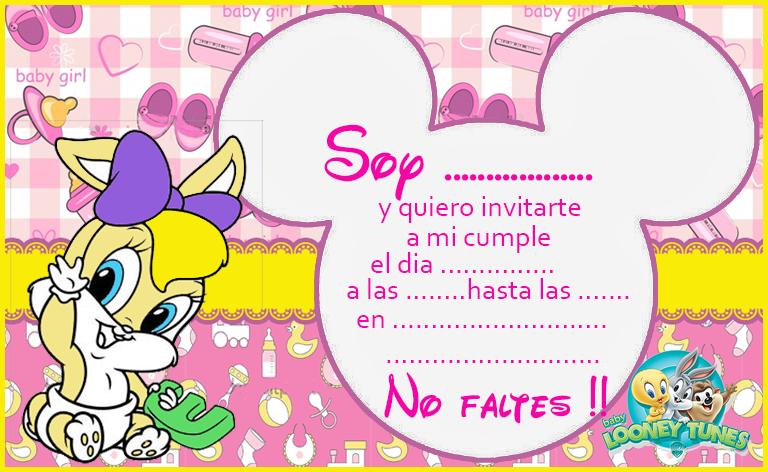 Invitacion Tarjetita Lola Baby Toones Kit Imprimible Candy