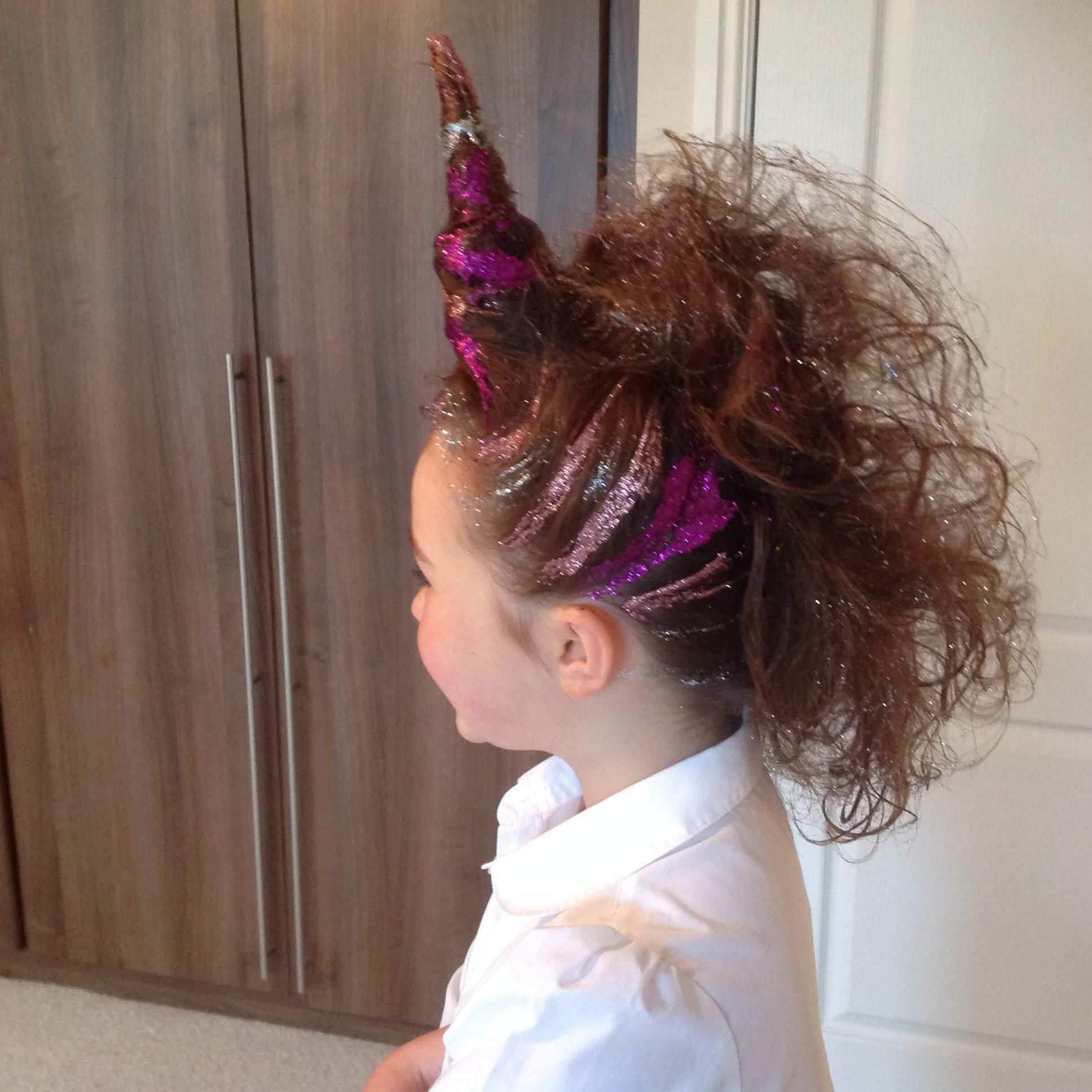 Glittery Unicorn For Crazy Hair Day At School Crazy Hair Crazy Hair Day At School Crazy Hair Days