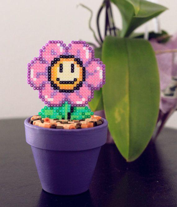 Super Mario Inspired Tiny Purple Smiling Daisy. by BeadxBead