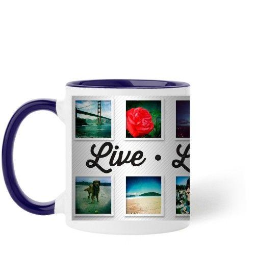 Live Laugh Love Mug, Blue, 11 oz, White