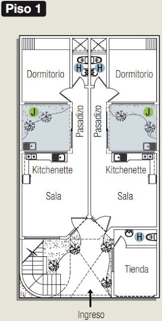 Planos de casa con estudio oficina en 120m2 via www for Oficinas planta arquitectonica