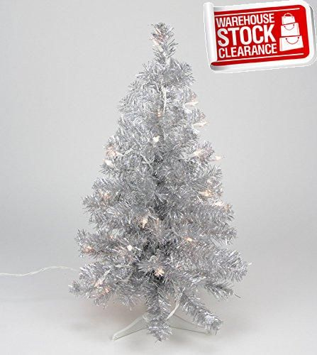 Silver Lighted Tinsel Tree Tinsel tree, Christmas tree and Lights