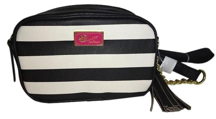 "Betsey Johnson ""LUV BETSEY"" Black and White Striped Crossbody"