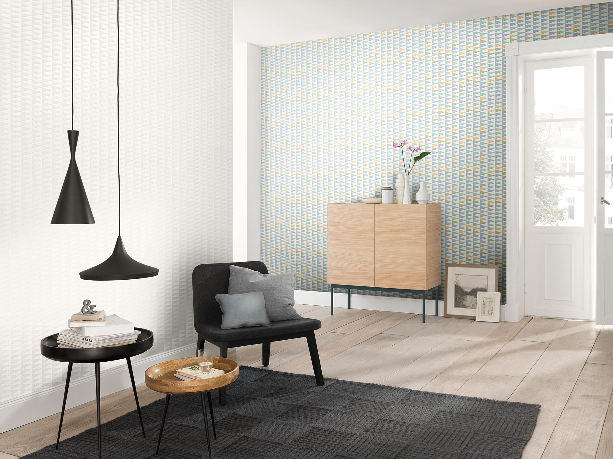Die FREUNDIN HOME COLLECTION Nordic Living Vliestapete Zeigt Die Farben Und  Muster Skandinavischer Wohnkultur Für Die