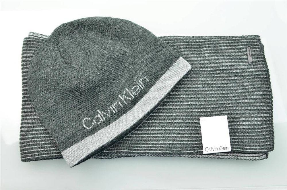 Mens Calvin Klein Scarf Set Signature Reversible Logo Winter Muffler w  Hat  NWT  CalvinKlein  Beanie b176b66c483