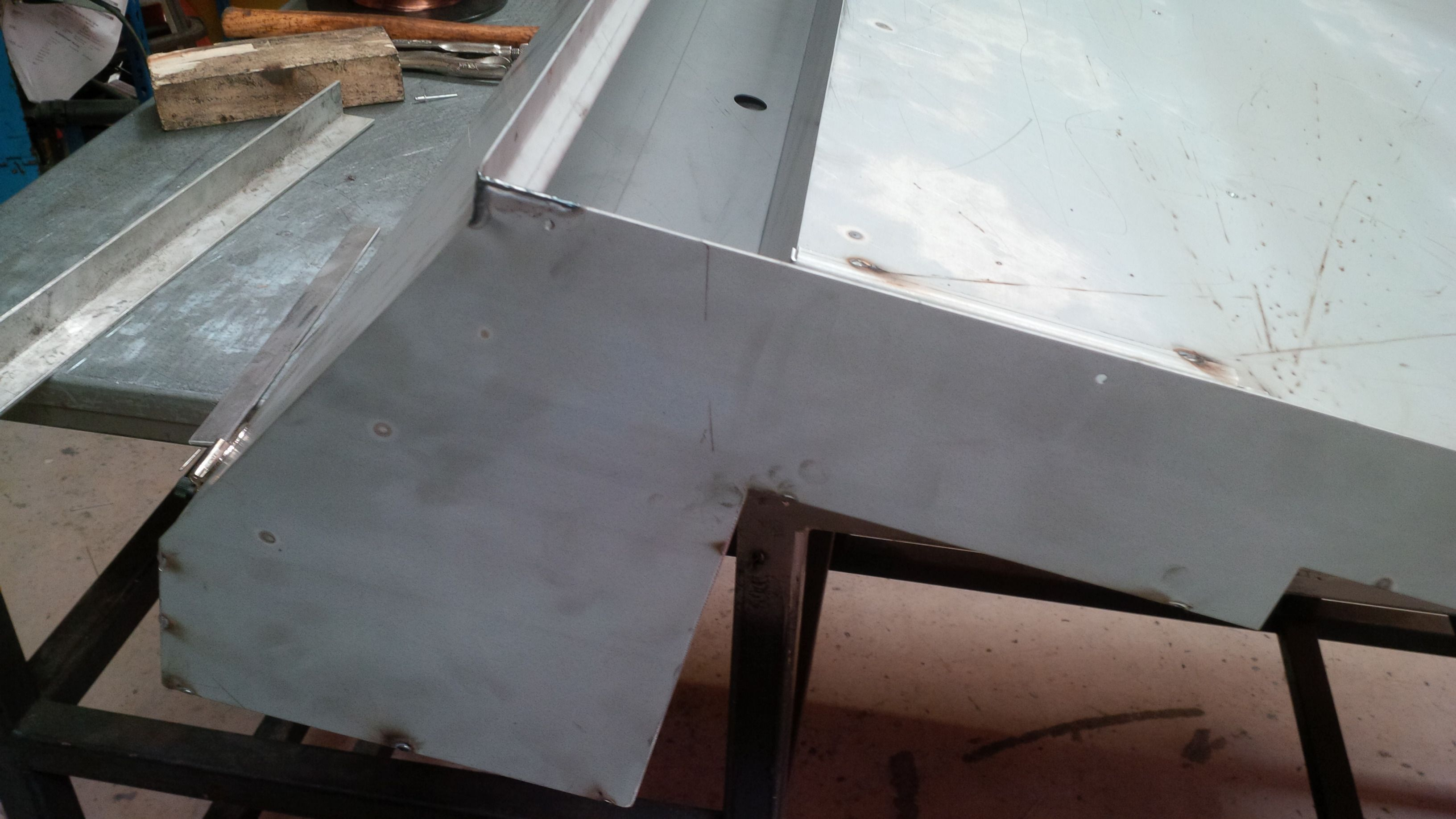 Large Light Fitting Enclosure Fabricated From Several Formed Sheet Of Zintec Coated Mild Steel Sheet Metal Work
