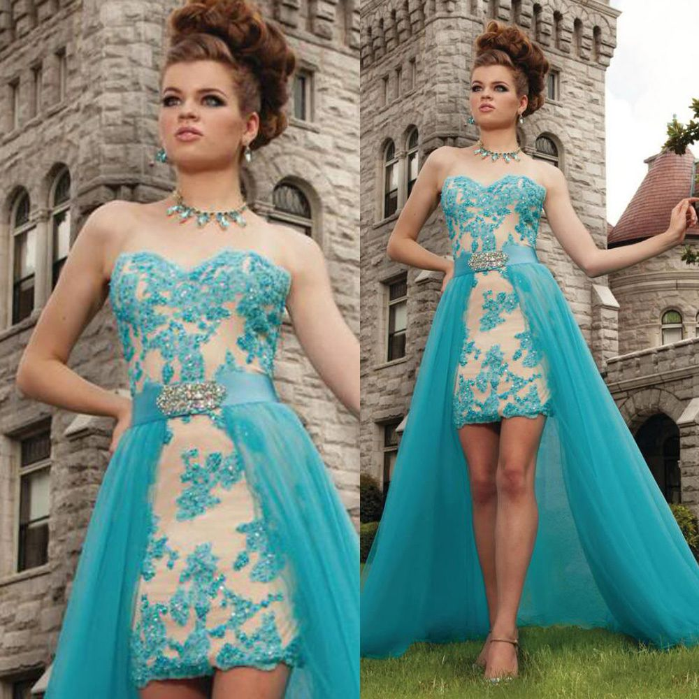 garden turquoise high low prom dresses tulle rochii de seara