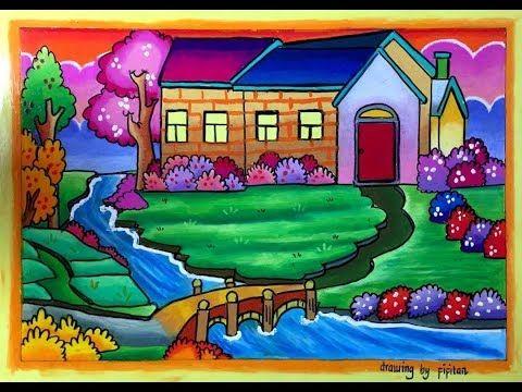 Cara Mudah Menggambar Rumah Dan Pemandangan Alam Yang Indah Serta Cara Gradasi Warna Oilpastel Youtube Pemandangan Gambar Lukisan Rumah