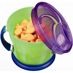 Munchkin Snack Cups: There are a few things that I really love about these cups: you can attach a paci clip to the handle so the cup doesn't fall on the floor, the lids are almost impossible for kids to pull off, and even if shaken, the snack doesn't fall out. They are diswasher safe and easy for kids to pull their hands out of. Great for the car or on the go!