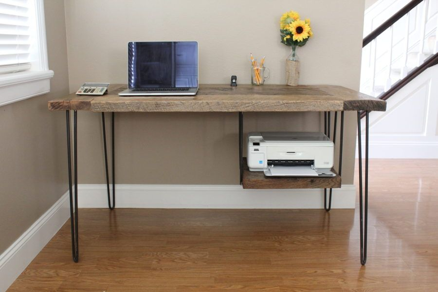 Make Your Office More Eco Friendly With A Reclaimed Wood Desk Diy Farmhouse Desk Reclaimed Wood Desk Printer Shelf Computer desk with printer storage