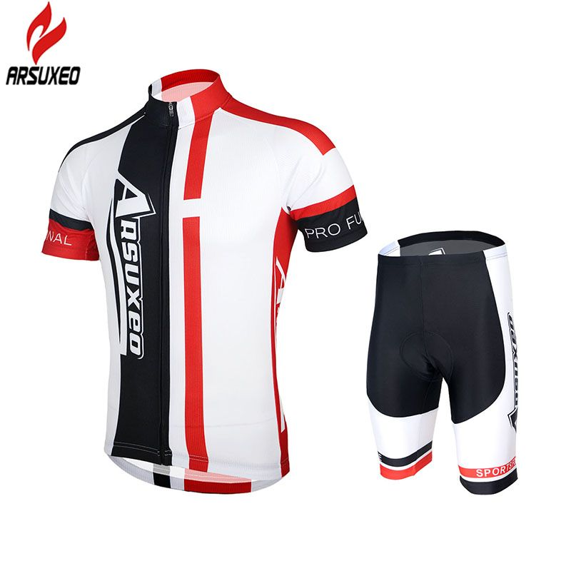 2015 ARSUXEO Mens Cycling MTB Short Sleeves Jersey Bike Bicycle Sets Shirts  Padded Cycling Wear Uniforms ZSS51 6a3c0e6ab