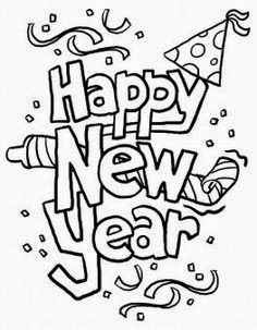 printable black and white happy new year clipart image for school kids