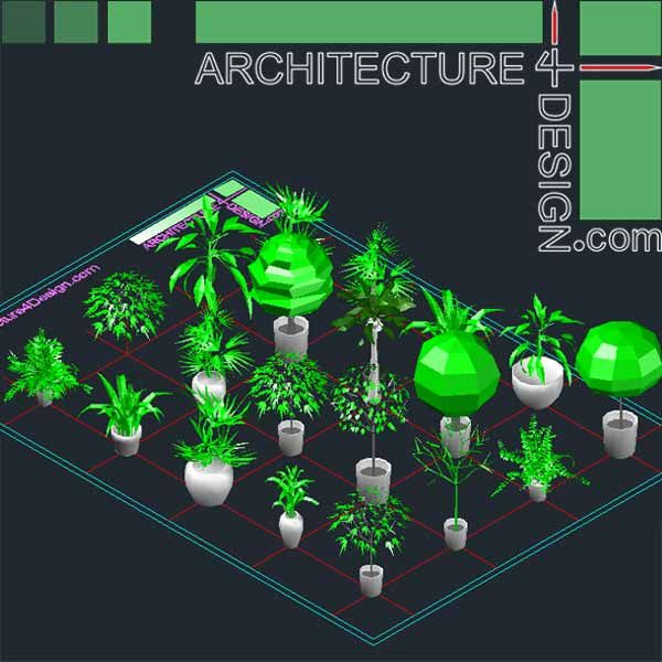 Autocad 3d trees and shrubs models (DWG file) Architecture for