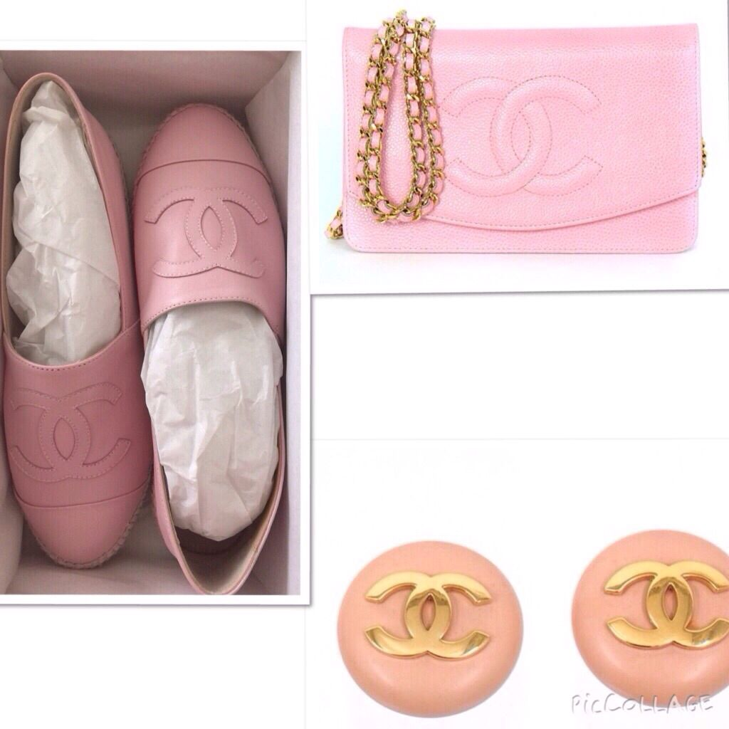It is mother's day in few days, pamper your mamas pink heart with rare chanel pink candies. |Available now @beautyslab. ***Chanel brand new leather pink espadrille, size 38 &40, selling price AED 2940 or $800. ***chanel rare preowned pink wallet on chain in caviar  leather and gold hardware, in excellent condition, selling price AED 9000 or $ 3000. ***Chanel vintage earings, selling price AED 2500 or $685.  For more details kindly whats'app us on +971508818891.  #Chanel #Chanelespadrilles…