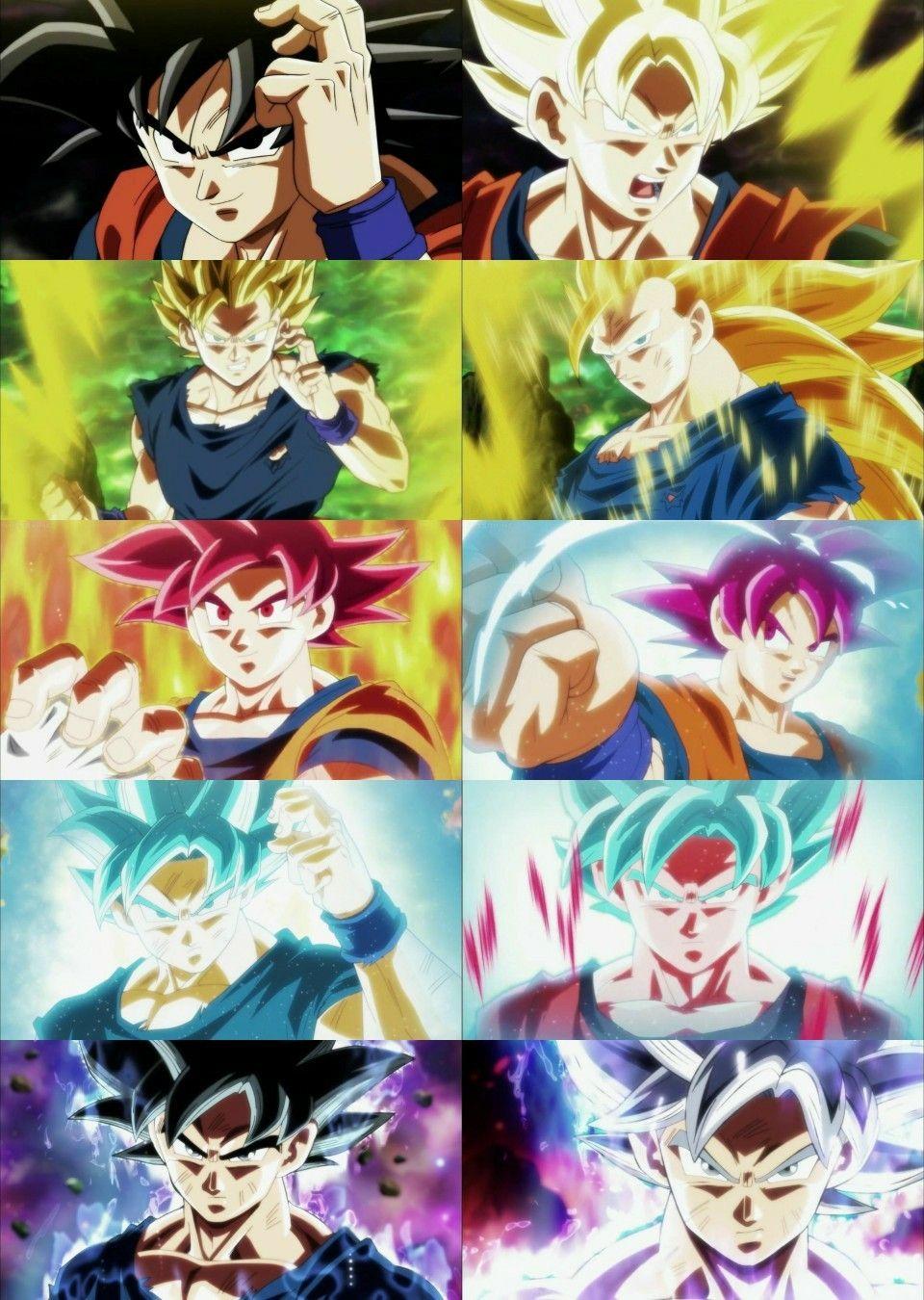 Todas Las Formas De Goku En Dragon Ball Super Anime Dragon Ball Super Dragon Ball Super Goku Dragon Ball Goku