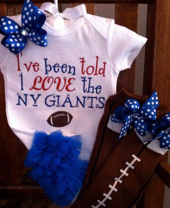 I Love The Ny Giants Ruffle Bottom Bodysuit Or Shirt With Leg