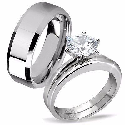 His Tungsten Hers Stainless Steel 3 Pcs Cly Matching Wedding Rings Band Set