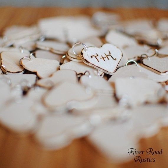 Rustic Wedding Favor Wood Heart Charm Tags Set of 100