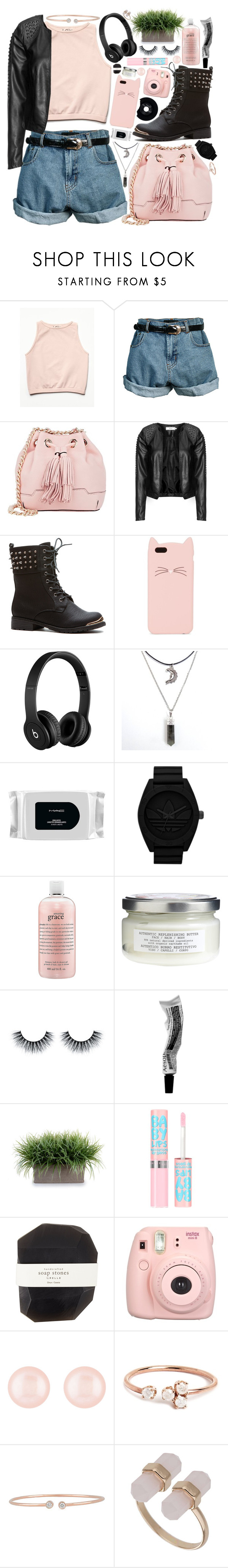 """""""I wish you were here, but I wish you were gone"""" by skia-kai ❤ liked on Polyvore featuring Free People, Retrò, Rebecca Minkoff, Zizzi, Kate Spade, Beats by Dr. Dre, CHESTERFIELD, MAC Cosmetics, adidas Originals and philosophy"""