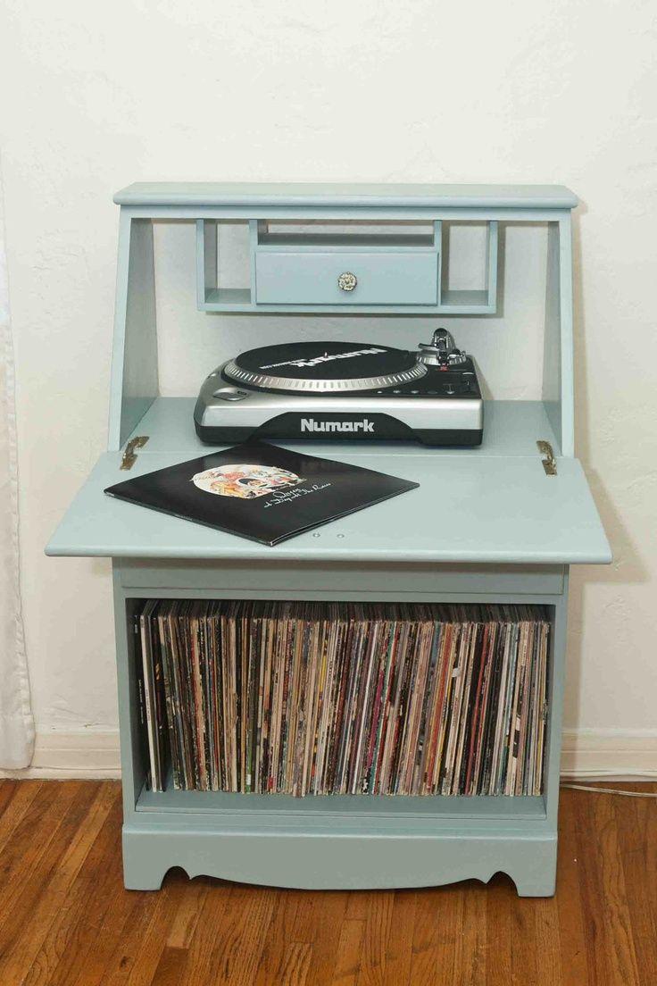 Vintage Refurbished Record Cabinet. $220.00, Via Etsy.