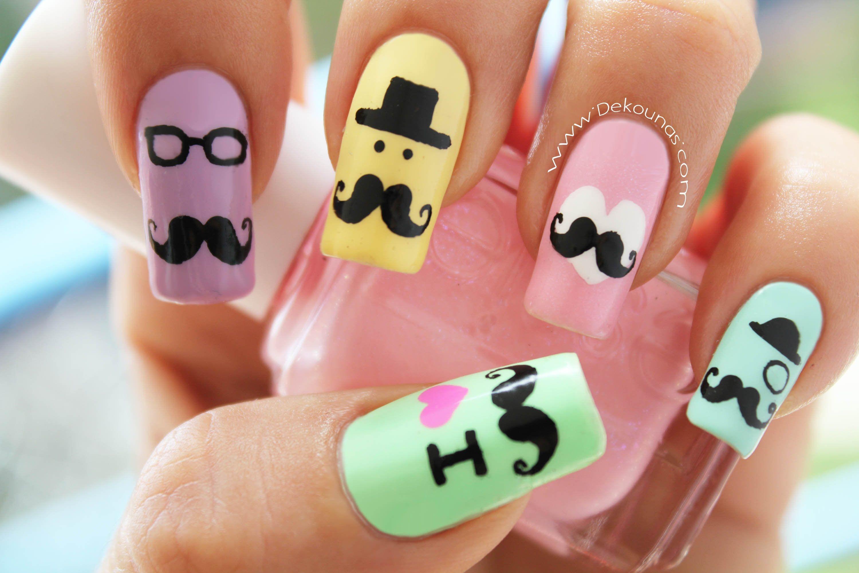 Decoración de uñas mustache - Mustache nail art | Uñas | Pinterest ...