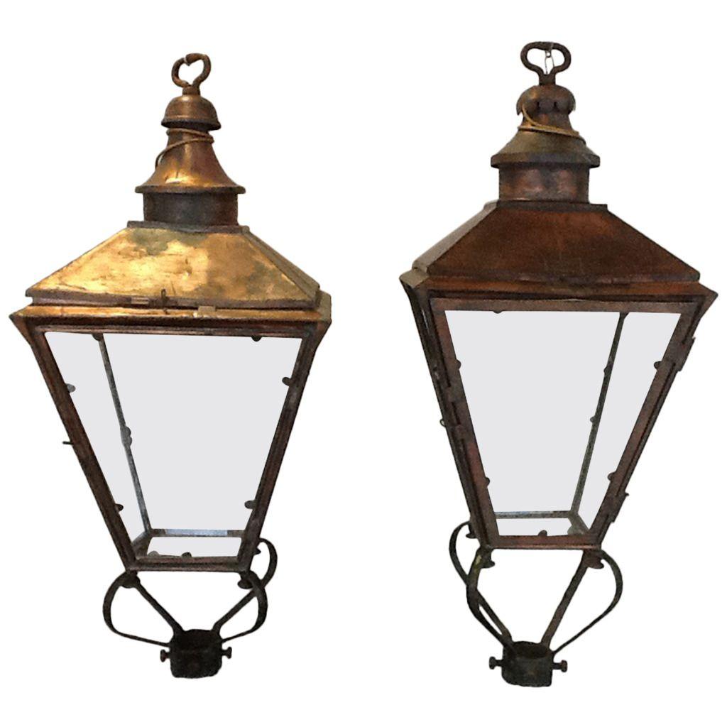Pair Antique Lighting Fixture Outdoor Street Lights