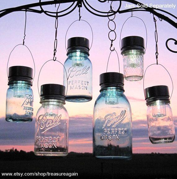 Dusk To Dawn Light Rural King: Garden Solar Jar Lights 6 Mason Jar Solar LIDS Garden