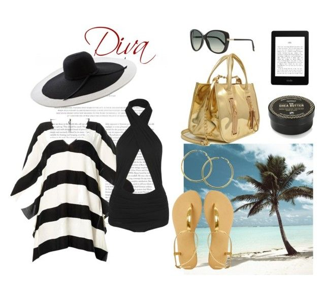 """""""Diva"""" by culimanna ❤ liked on Polyvore featuring ViX, Norma Kamali, ASOS, Tom Ford, NSEW, SkinCare, Melissa Odabash, gold, stripes and swimwear"""