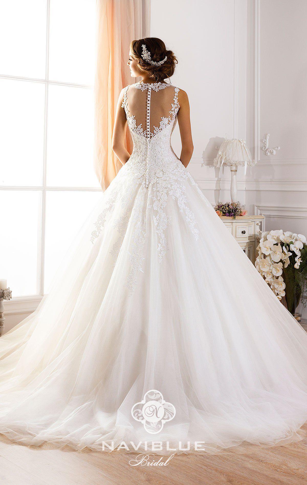 Свадебное платье с закрытым верхом Navi Blue 13097.   www.rosablanca.ru