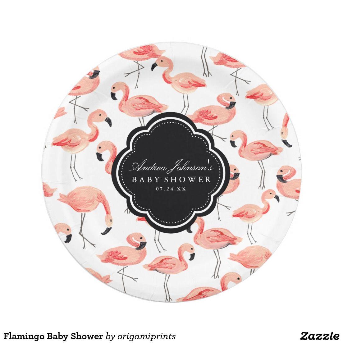 Flamingo Baby Shower Paper Plate  sc 1 st  Pinterest & Flamingo Baby Shower Paper Plate | Flamingo baby shower Flamingo ...