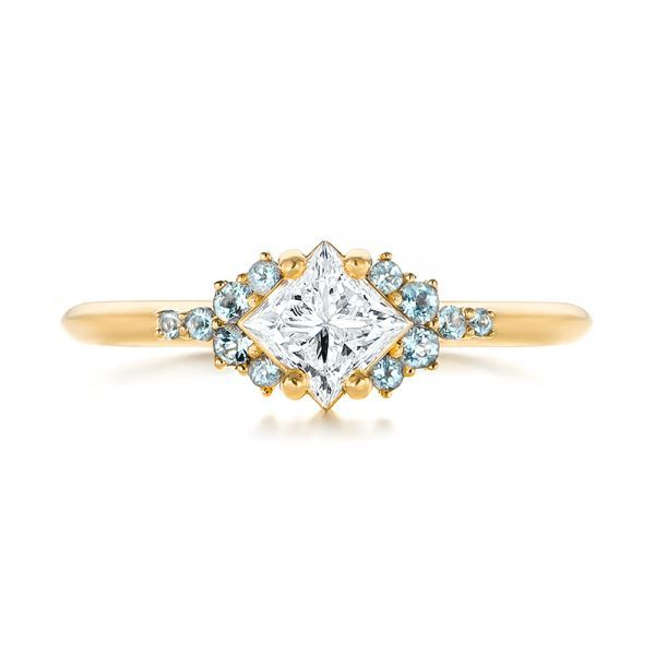 Custom Rose Gold Aquamarine and Diamond Engagement Ring #103617