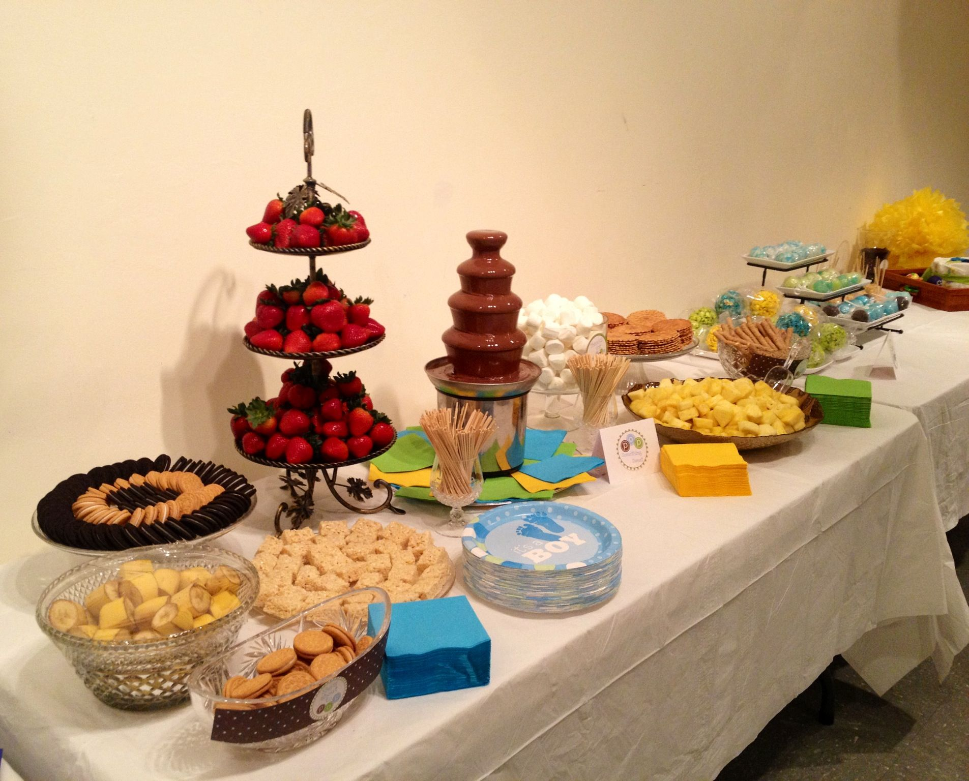 Ready To Pop Baby Shower Chocolate Fountain Display Table My Pins