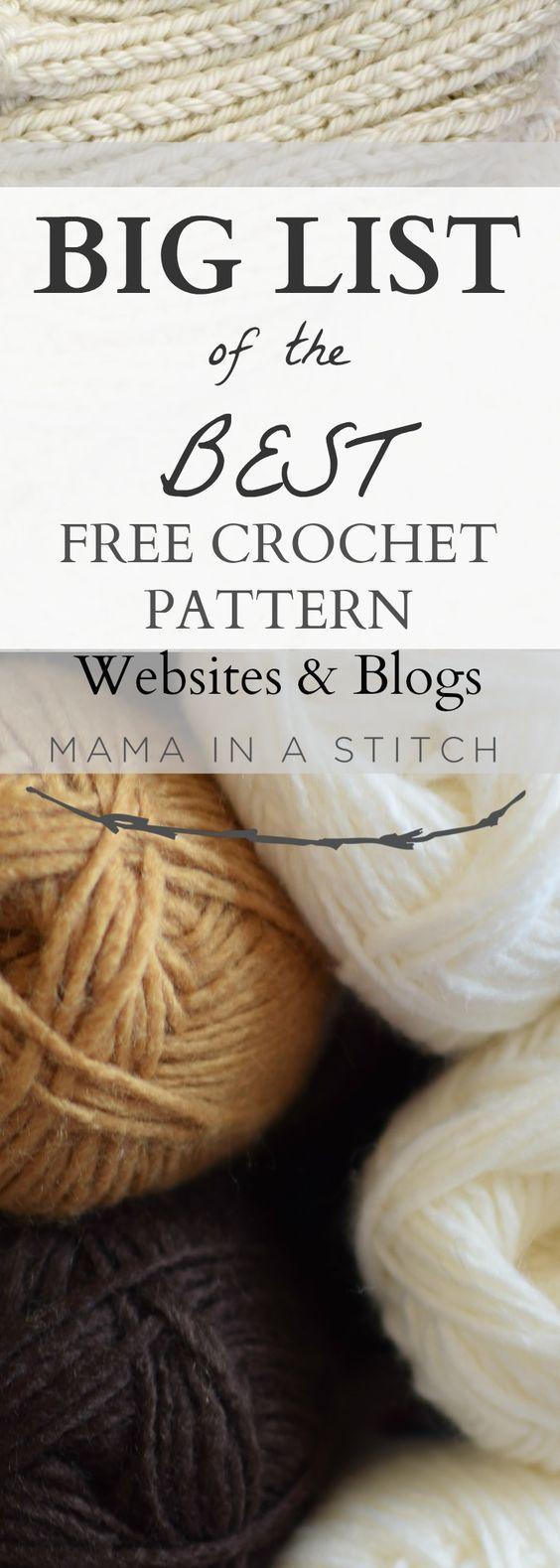 BIG List of Free Crochet Pattern Blogs & Websites   Ganchillo ...