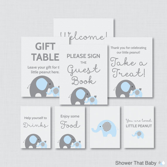 Printable Elephant Baby Shower Table Signs - EIGHT Signs! Welcome