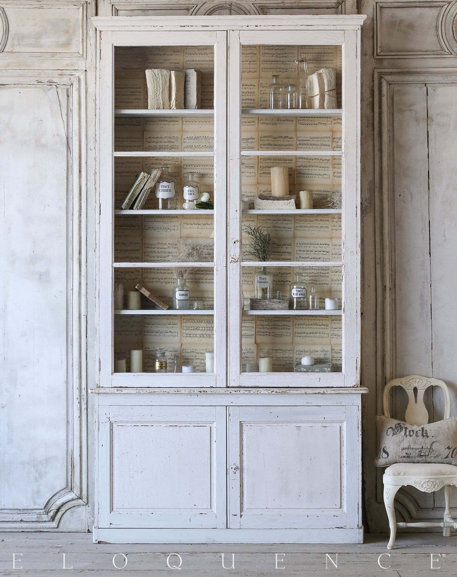 Eloquence Inc Antique French Cabinet 1900 Lovely antique glass