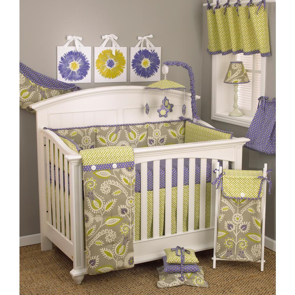 Periwinkle Fl 4 Piece Crib Bedding Set Purple Green Gray