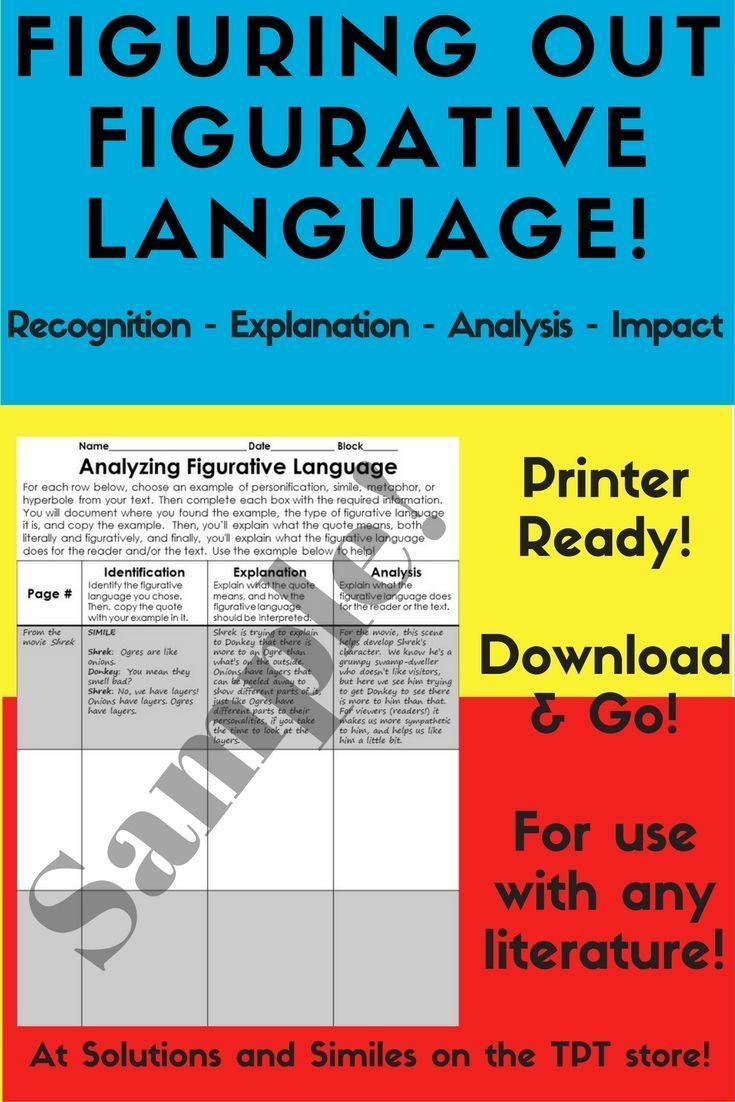 Figurative Language Analysis Worksheet Figurative Language And
