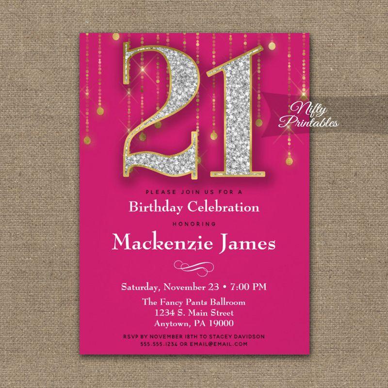 21st Birthday Invitation Pink Gold Diamonds Adult PRINTED