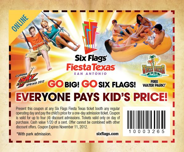 Six Flags Fiesta Texas Coupons And Other Attraction Coupons Coupons Six Flags Sample Coupons