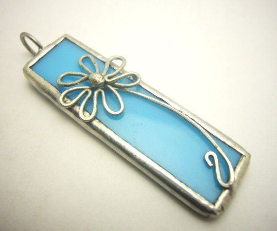 Spring Daisy Flower turquoise blue stained glass by AlmondTree, $20.00